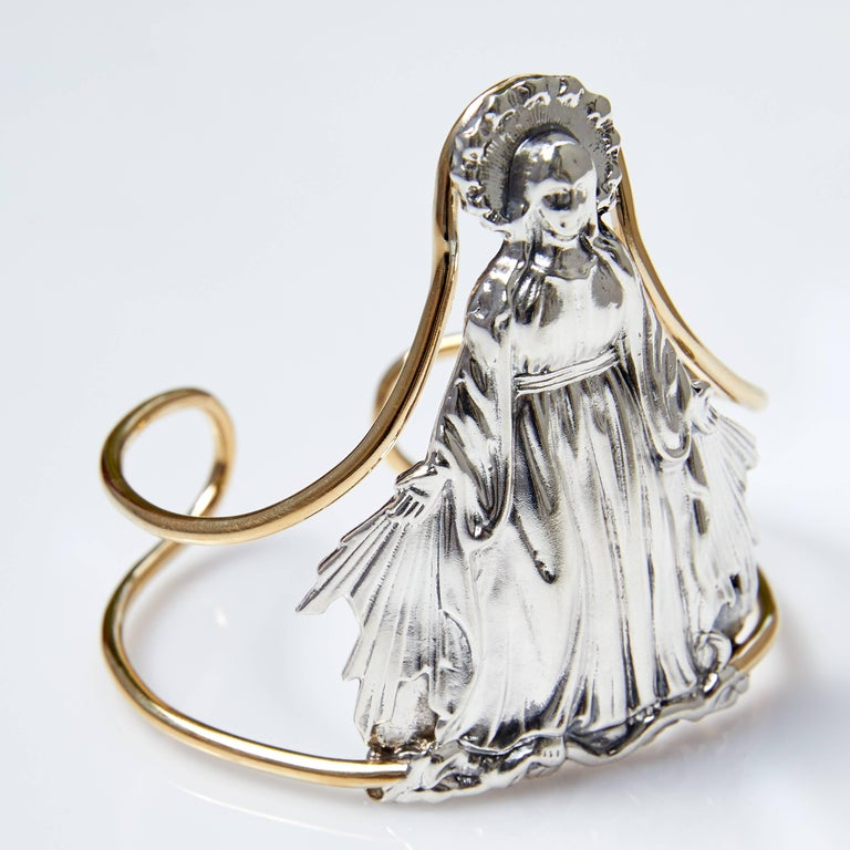 Contemporary Virgin Mary Cuff Bangle Statement Silver Brass J Dauphin For Sale