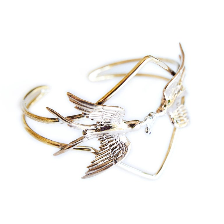 Statement Cuff with Doves Heart and Ruby J DAUPHIN