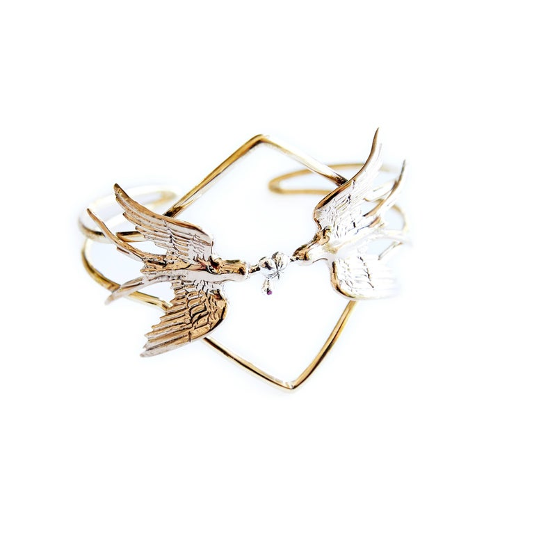Contemporary Doves Statement Cuff Heart Ruby Silver Bronze Brass J Dauphin For Sale