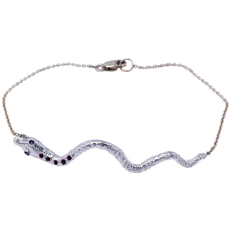 5 Ruby 2 Tanzanite Streling Silver Snake Pendant Gold Filled Chain Bracelet J Dauphin  J DAUPHIN Bracelet