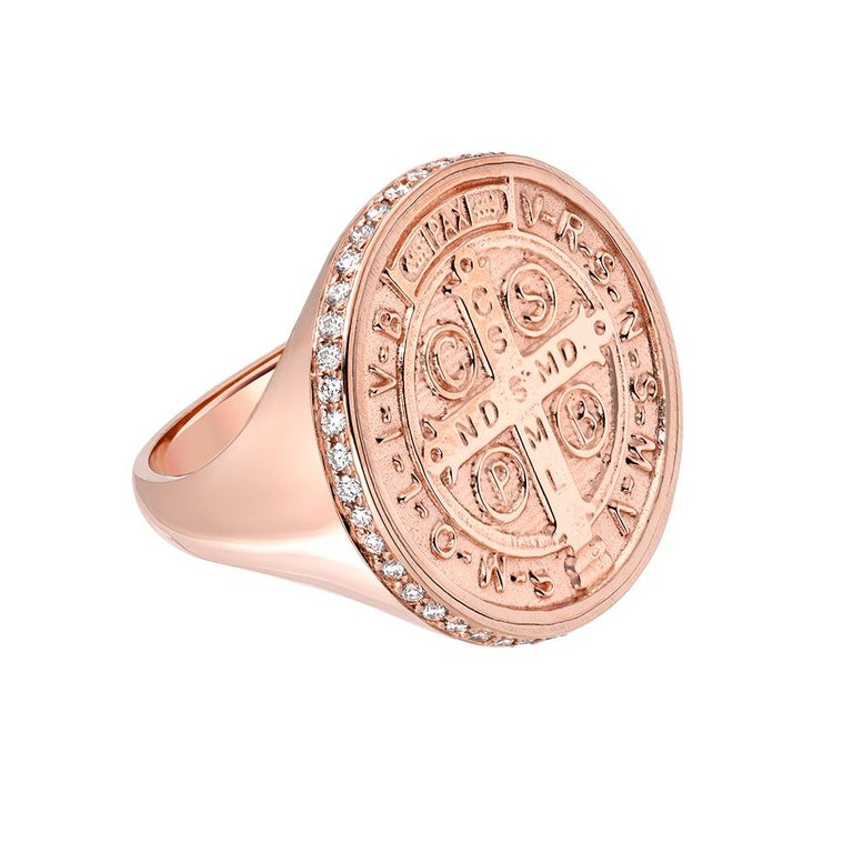 14 Karat Rose Gold and Pavé White Diamond St. Benedict Signet Ring For Sale