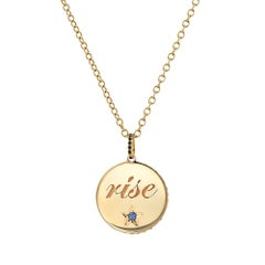 """18 Karat Yellow Gold and Blue Sapphire """"Rise"""" Engraved Medallion on Chain"""