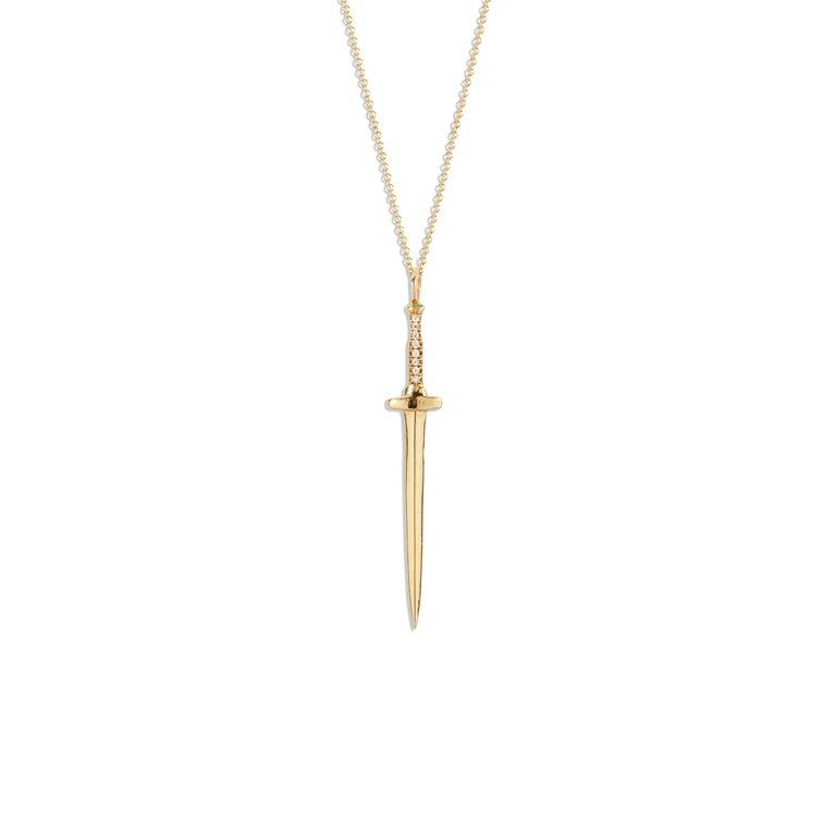 14 Karat Yellow Gold and White Diamond Large Dagger Pendant