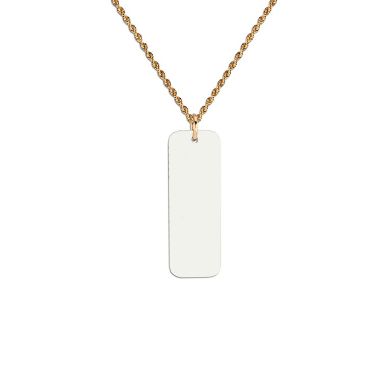 Sterling Silver and Pavé Black Diamond Memento Dog Tag Pendant In New Condition For Sale In Los Angeles, CA