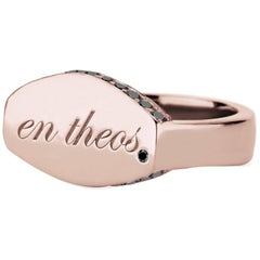 "14 Karat Rose Gold and Black Diamond En Theos ""A God Within"" Signet Ring"