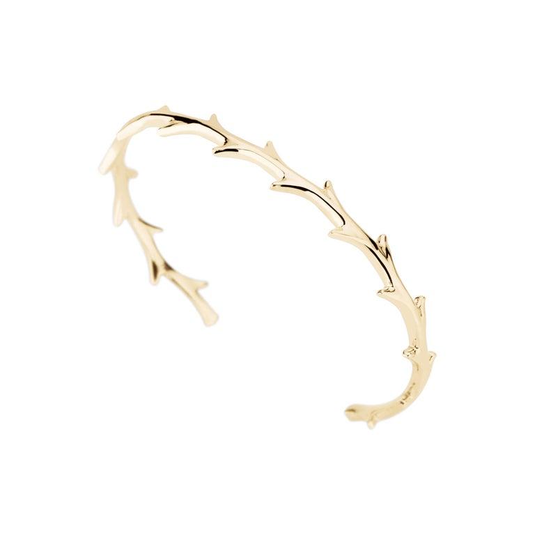 14 Karat Yellow Gold Crown of Thorns Cuff Bracelet