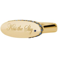 """Engraved 18 Karat Yellow Gold and Blue Sapphire """"Kiss the Sky."""" Signet Ring"""
