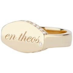 "14 Karat Yellow Gold and White Diamond En Theos ""A God Within"" Signet Ring"