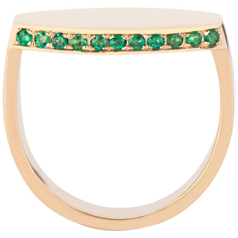 18 Karat Yellow Gold and Emerald Oblong Signet Ring with Optional Engraving