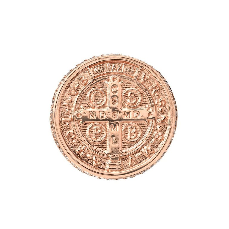 The 14k Saint Benedict Signet Ring is a large signet meant to make a statement.  It was cast from an original antique medallion. A Saint Benedict medal is worn by many to ward off evil. St. Benedict is the Patron Saint of Europe and considered a