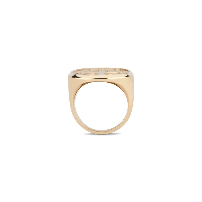 Round Cut 14 Karat Rose Gold and Pavé White Diamond St. Benedict Signet Ring For Sale