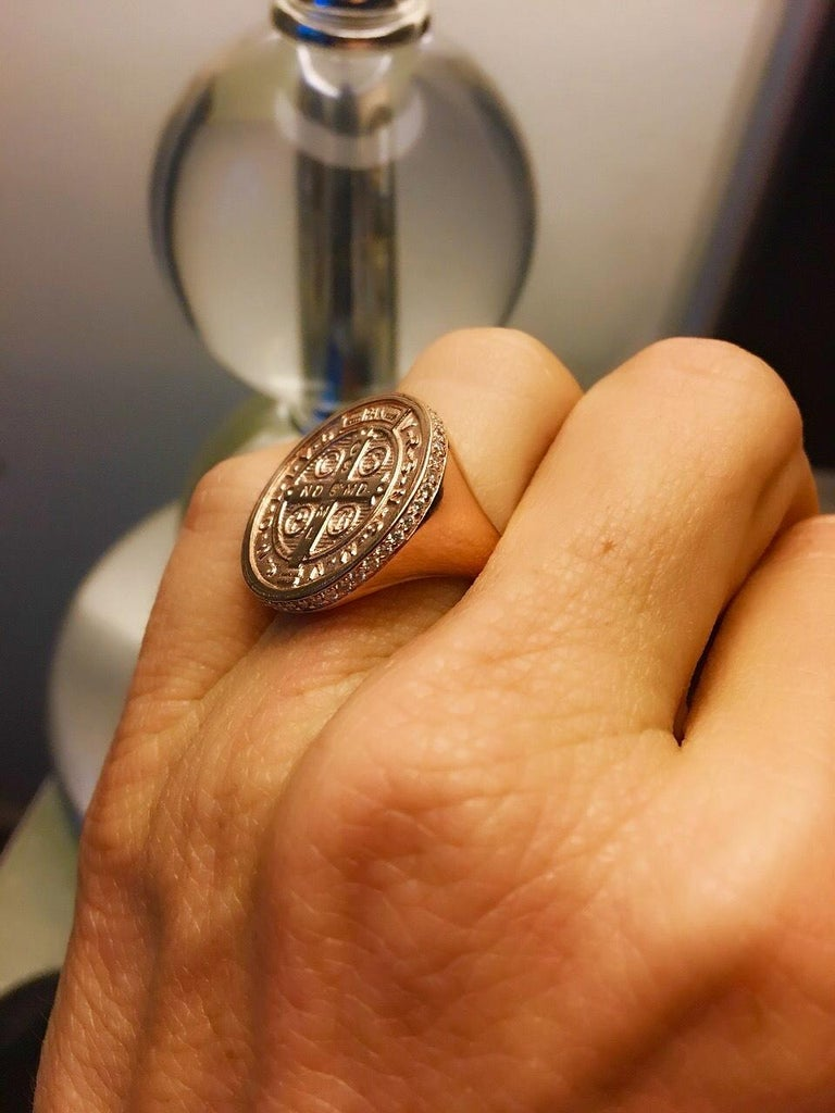 14 Karat Rose Gold and Pavé White Diamond St. Benedict Signet Ring In New Condition For Sale In Los Angeles, CA