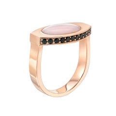 14 Karat Rose Gold and Pink Opal Signet Ring with Pavé Black Onyx