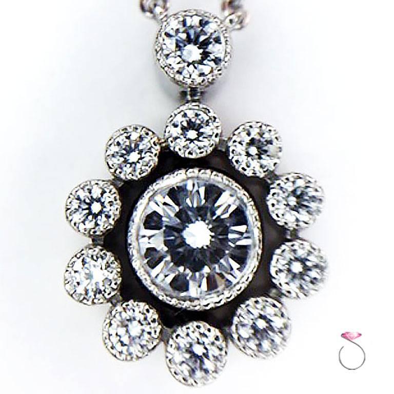 Art Deco TIFFANY & CO. Diamonds Halo Flower Pendant Necklace in Platinum For Sale