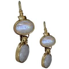 22k Gold 28 Carat Moonstone Cabs Dangle Drop Earrings, Organic Contemporary
