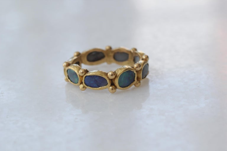 Oval Cut Black Opal 22 Karat Gold Bezel Band Fashion Ring One-of-a-Kind Handmade Jewelry For Sale
