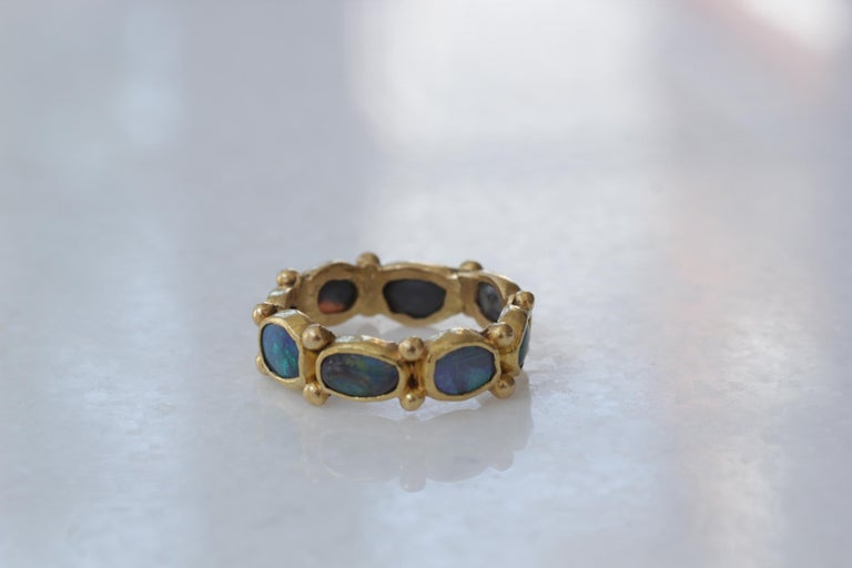 Contemporary Black Opal 22 Karat Gold Bezel Band Fashion Ring One-of-a-Kind Handmade Jewelry For Sale