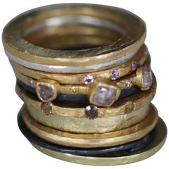 Stacking 22k Gold Ring with Pink Yellow and Brown Diamonds, Stackable Large Disk