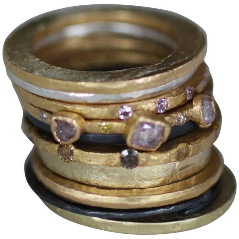 Color Diamond Tree-Stone Bezel Set in 22k Gold Engagement Bridal Ring Handmade   For Sale 1