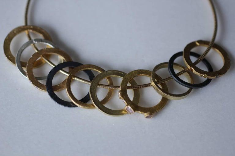 Color Diamond Tree-Stone Bezel Set in 22k Gold Engagement Bridal Ring Handmade   For Sale 2