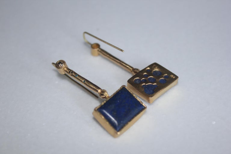 Solid 22K-21k 18k Gold Lapis Lazuli Diamond Drop Contemporary Earring Handmade For Sale 1