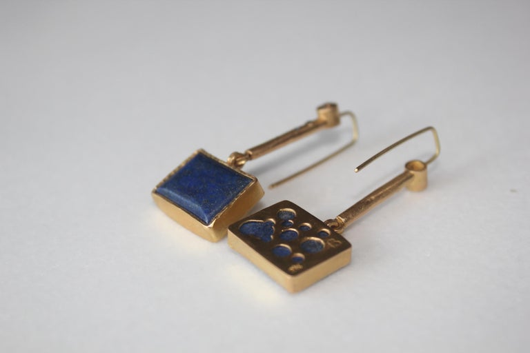 Solid 22K-21k 18k Gold Lapis Lazuli Diamond Drop Contemporary Earring Handmade In New Condition For Sale In New York, NY