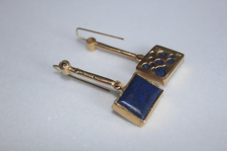 Women's Solid 22K-21k 18k Gold Lapis Lazuli Diamond Drop Contemporary Earring Handmade For Sale