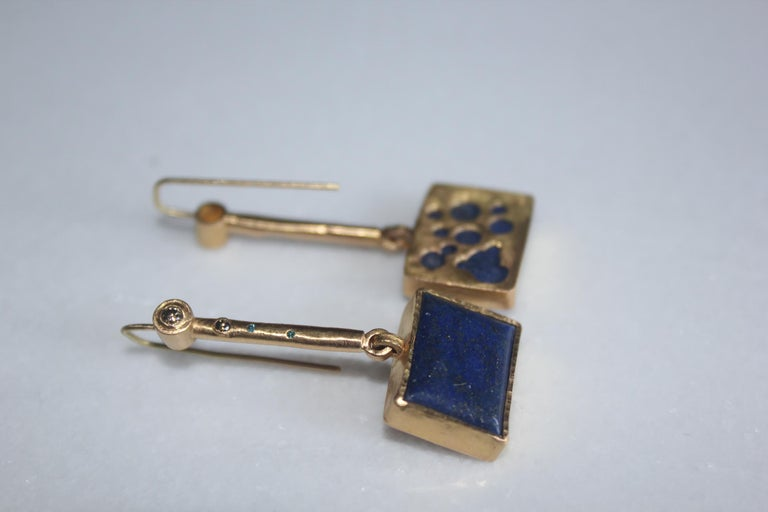Solid 22K-21k 18k Gold Lapis Lazuli Diamond Drop Contemporary Earring Handmade For Sale 2