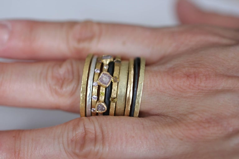 Women's or Men's Bridal Wedding Band Ring 18K Gold Modern for Man or Woman Stacking Design For Sale