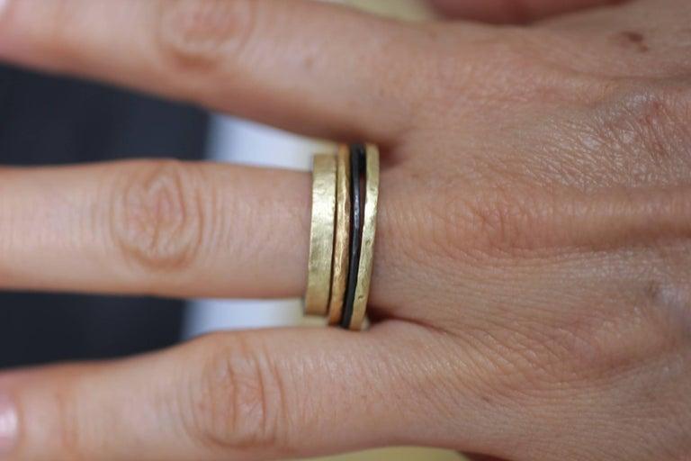 Bridal Wedding 18 Karat Gold Band Ring Stacking Contemporary Unisex Man  For Sale 4