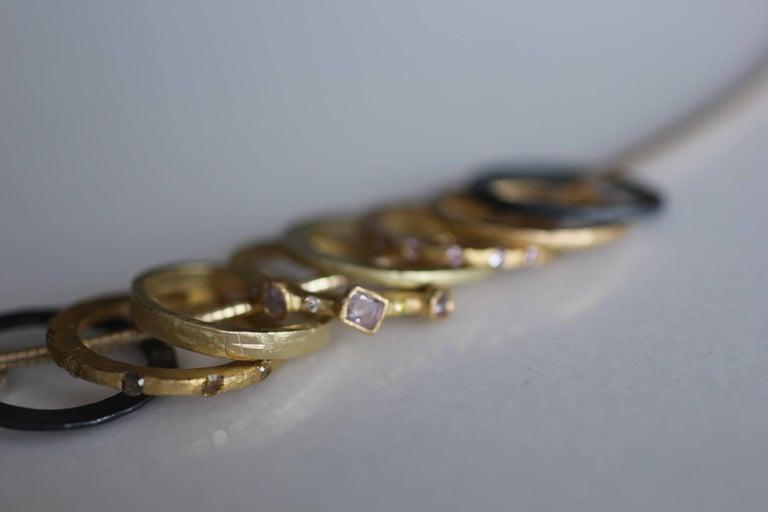 Bridal Wedding 18 Karat Gold Band Ring Stacking Contemporary Unisex Man  For Sale 10