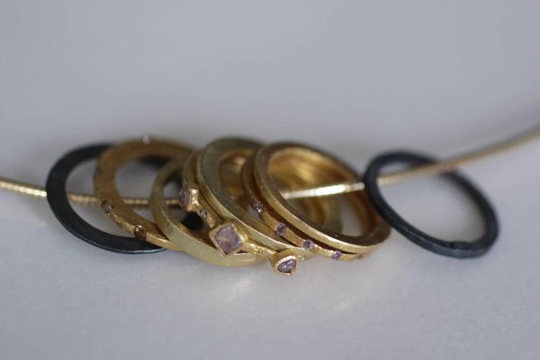 Bridal Wedding 18 Karat Gold Band Ring Stacking Contemporary Unisex Man  For Sale 12