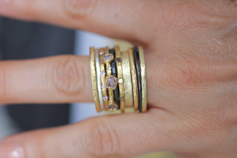 Brown Diamonds Yellow Gold Bridal Wedding Band Ring, Stack #3  For Sale 6