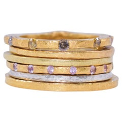 Diamonds Sapphires in 18K and 22K Gold Bridal Wedding Ring, Stack #4 Her Gift