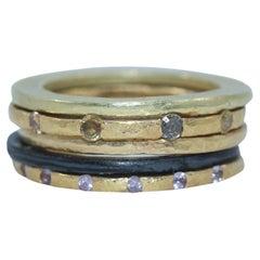 Diamonds Sapphires 18K and 22K Gold Bridal Wedding Band Ring, Stack #5