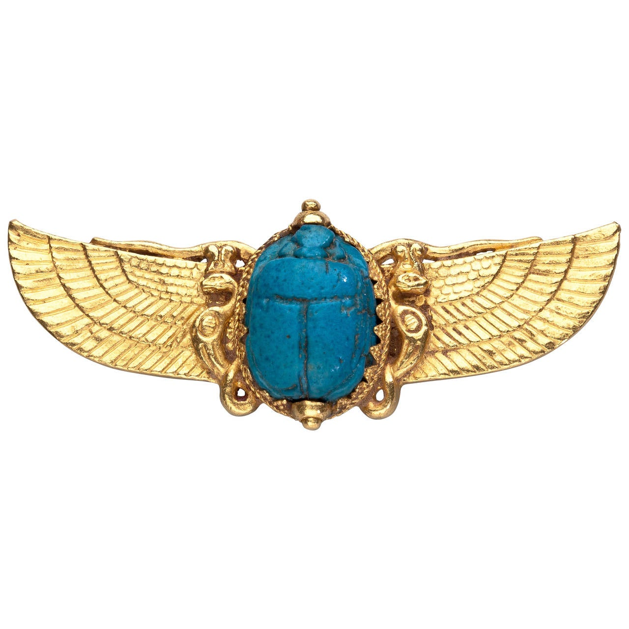 Jule Wiese Antique Egyptian Revival Gold Scarab Brooch At