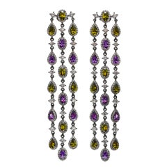 Amethyst and Peridot Long Raindrops Earrings
