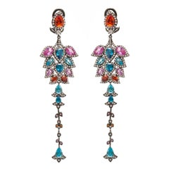 Multi Colors Chandelier Statement Earrings