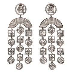 Chandelier Earrings with Pave Setting Grey Rhodium