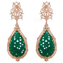 Chandelier Earrings Rose Gold with Green Accent