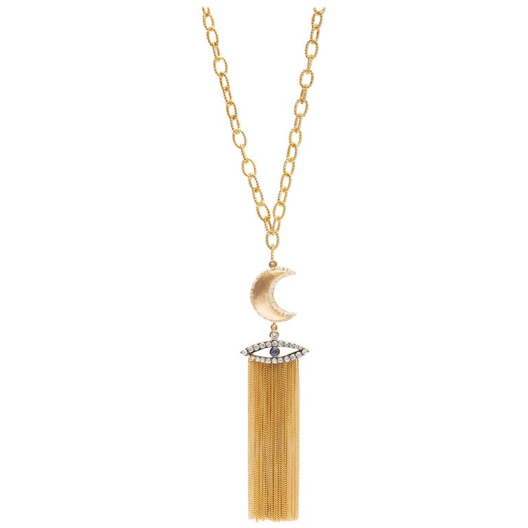 Moon and the Guardian Eye Vermeil Gold Necklace