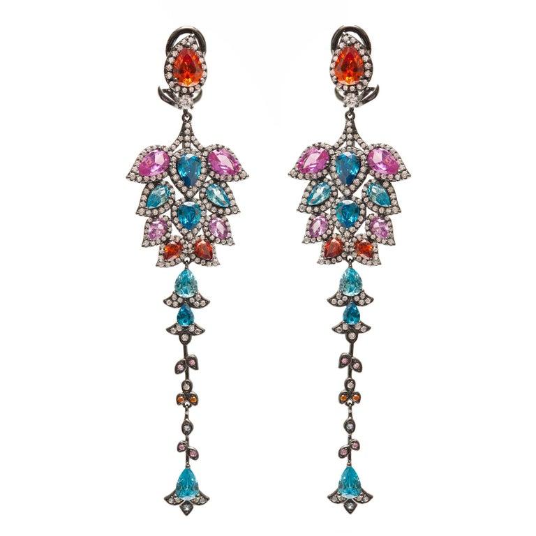 Multi Colors Chandelier Statement Earrings