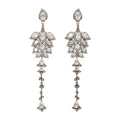 Chandelier Statement Earrings Grey Rhodium Plated Sterling Silver