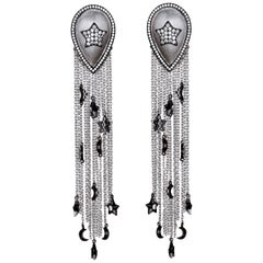 Ammanii Drop Earrings with Tassels Sterling Silver Plated Rhodium