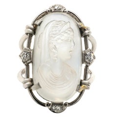 Victorian Moostone Cameo Diamond Platinum Ring