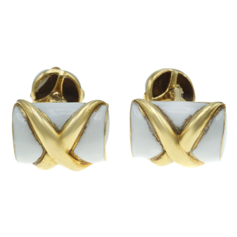 Tiffany & Co. Schlumberger 18 Karat Gold and Enamel Cufflinks