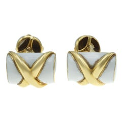 Tiffany & Co. Schlumberger 18 Karat Gold and Enamel Cufflinks