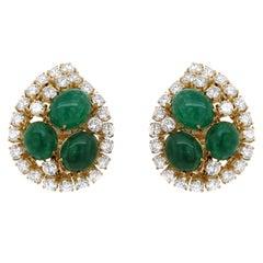 Emerald and Diamond Ear Clips