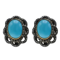 Victorian Persian Turquoise and Diamond Clip-On Earrings