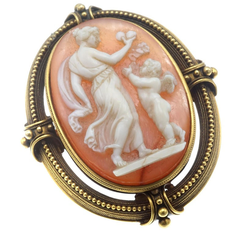 Women's or Men's Shell Cameo and Gold Brooch For Sale